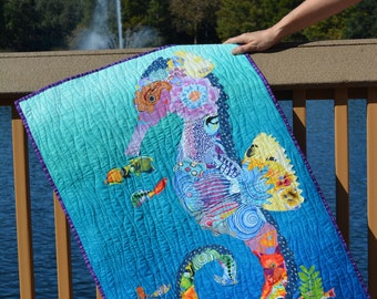 Floral Seahorse Handmade Quilted Wall Hanging