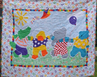 Colorful Windy Day Baby Quilt