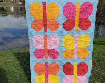 Modern Bright Butterfly Handmade quilt for Baby or Toddler