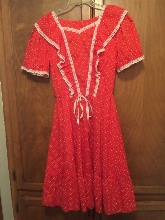 Vintage Jeri Bee Red Polka Dot Dance Dress Square