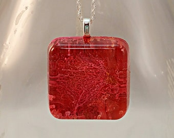 Moon Surface Pendant  - Red and Orange