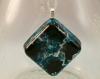 Moon Surface Pendant - Black and Turquoise Diamond