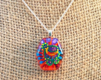 Resin abstract pendant - handpainted multi-colored abstract creature  - Multi-layer acrylic painting