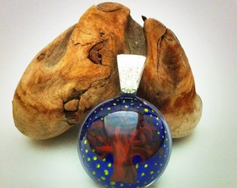 Hand painted resin pendant - tree with night sky background - sterling silver bail