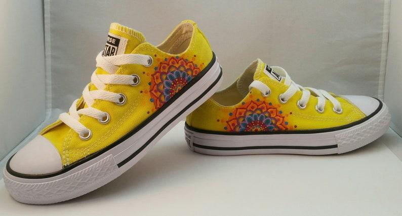 15af0d223793 Yellow Custom Mandala Converse Youth Size 12
