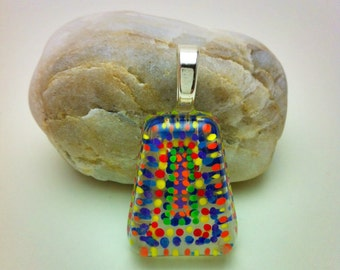 Hand painted resin pendant - trapezoid shape with tiny dots painted in layers - sterling silver bail