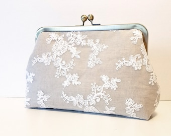 Linen & Lace Bridal Clutch | Handmade Lace Bridesmaid Clutch Purse | Personalized Wedding Clutch | Wedding Party Gift | 8 inch Clasp