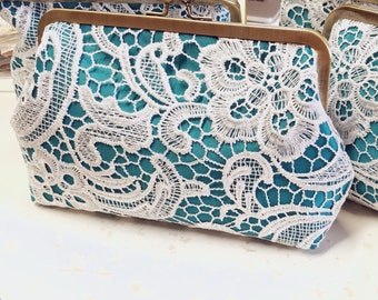 Turquoise Bridesmaid Clutch Set of 5, 6, or 7 | Personalized Lace Bridal Clutch | Bridesmaid Clutch | Lace Wedding Purse 8-inch Clasp