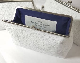 White Lace Bridal Clutch, White Lace Wedding Purse, Bridesmaid Clutch, Lace Bridal Clutch, Personalized Wedding Clutch, 7 inch Clasp