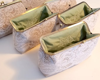 Bridesmaid Clutch Leaf Lace Set of 5, Set of 6 or 7, Lace Bridesmaid Clutch Gift, Personalized Wedding Clutch, Bridesmaid Purse 7-Inch Clasp