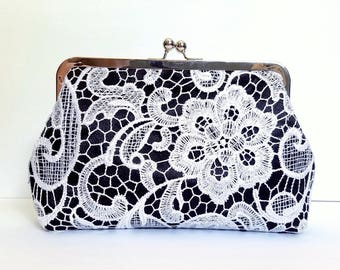 Black & White Lace Clutch, Lace Wedding Clutch, Mother of the Bride Gift, Mothers Day Gift, Bridesmaid Clutch, Satin Purse, 8-Inch Clasp