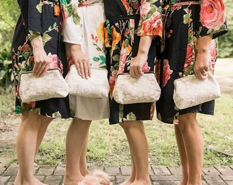 Vintage-Style Floral Clutch Set of 4, Bridesmaid Lace Clutch Gift Set, Personalized Lace Clutch, Wedding Clutch Lace, 8 inch Clasp