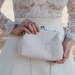 Alencon Lace & Champagne Bridal Clutch   Mother of the Bride Clutch   Maid of Honor Gift   White Lace Wedding Clutch   Custom   8 Inch Clasp