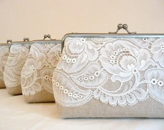 576c5ad14301 Bridesmaids Clutch Leaf Lace Gift Set