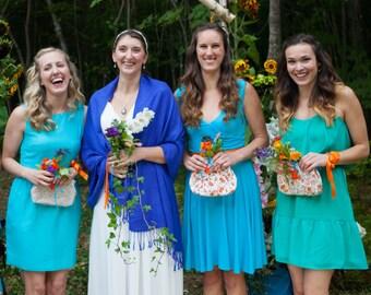 Floral Bridesmaid Clutch Set of 5, Wedding Floral Purse, Cotton Clutch Set, Wedding Party Clutch Set, Bridesmaid Clutch Set, 7-inch Clasp