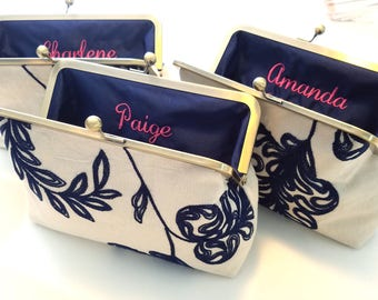 "Limited Edition Embroidered Linen Bridesmaid Clutches, Personalized Floral Wedding Purse Set of 3, 4 or 5, Bridesmaid Clutch Set, 8"" Clasp"