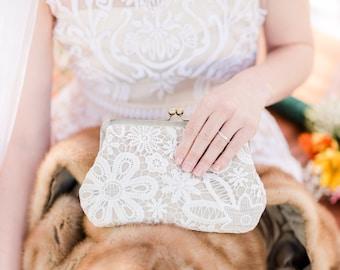 Vintage Style Lace Linen Bridal Clutch, Rustic Wedding Clutch, Lace Bridesmaid Purse, Elegant Purse, Eight Inch Frame Clutch