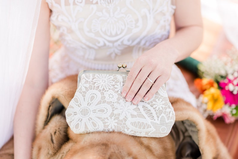 Vintage Style Lace Linen Bridal Clutch Rustic Wedding Clutch image 0