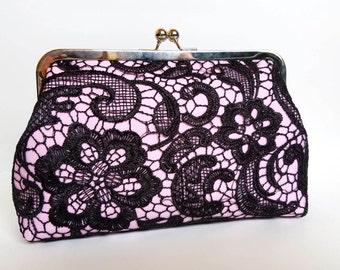 Pink & Black Lace Bridesmaid Clutch, Primrose Satin Bridal Clutch Purse, Black Lace Bridesmaid, Pink Lace Clutch, 8 inch Clasp,