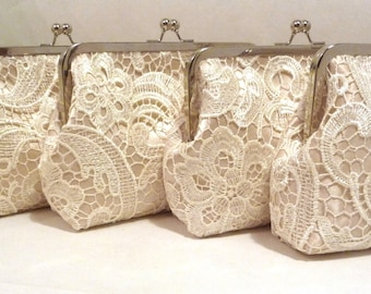 Lace Bridesmaid Clutch Set of 5, 6, or 7, Champagne Satin Personalized Lace Bridal Clutch, Bridesmaid Clutch, Lace Wedding Purse, 8-in Clasp
