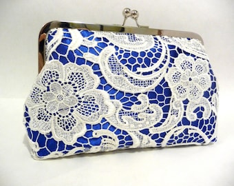 Cobalt Blue Lace Clutch, Blue Satin Bridal Clutch with White Lace Overlay, Wedding Purse, Something Blue Bridesmaid Gift, 8 Inch Frame,