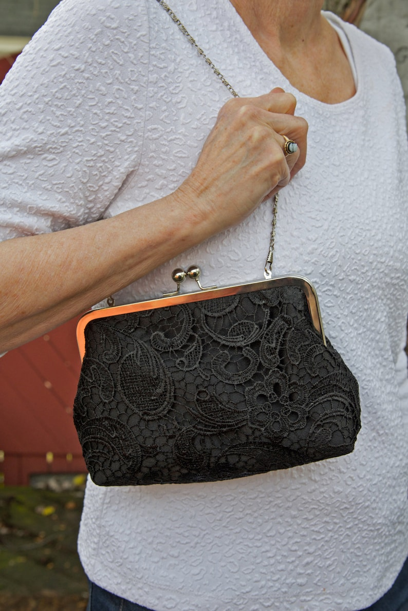Black Lace Bridal Clutch Mother of the Bride Satin Wedding image 0