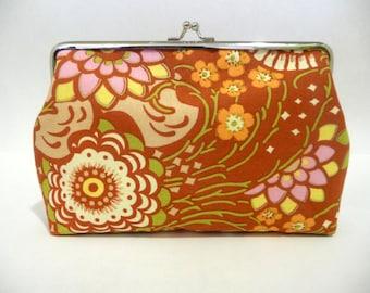 Red Retro Clutch, Bridesmaid Floral Clutch, Bridesmaid Clutch Purse, Floral Handbag, Seven inch Frame
