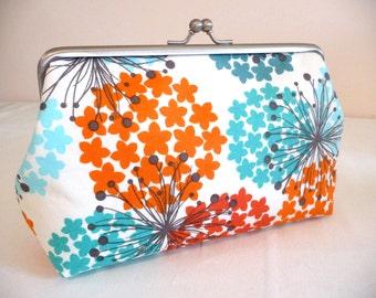 Firework Orange & Teal Clutch, Fun Floral Purse, Bridesmaid Clutch, Fall Bridesmaid Gift
