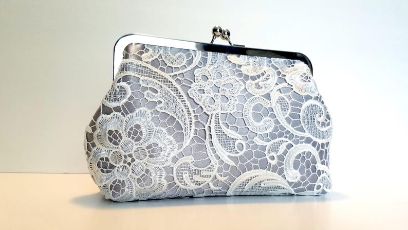 Silver Lace Bridal Clutch  Gray Lace Bridal Purse  image 0