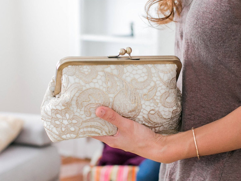 Gold Lace Bridal Clutch  Mother of the Bride Clutch  Maid of image 0