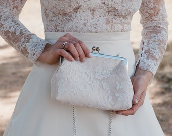 Alencon Lace & Champagne Bridal Clutch | Mother of the Bride Clutch | Maid of Honor Gift | White Lace Wedding Clutch | Custom | 8 Inch Clasp