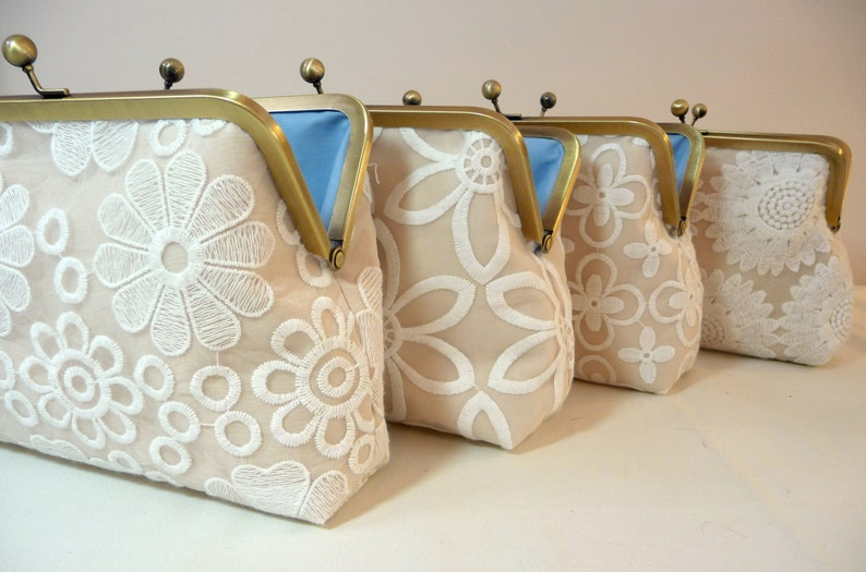 Floral Clutch Set of 4 Bridesmaid Champagne Clutch Gift Set image 0