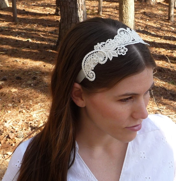 Floral Lace Headband Wedding Headband Wedding Hair Ribbon  af66b8ec1a8