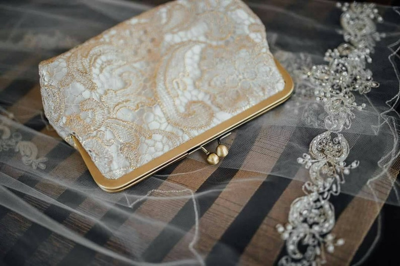 Gold Lace Bridal Clutch Wedding Clutch Personalized Formal image 0