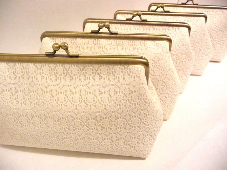 Ivory Lace Bridesmaid Clutch Set of 5 Set of 6 or 7 image 0