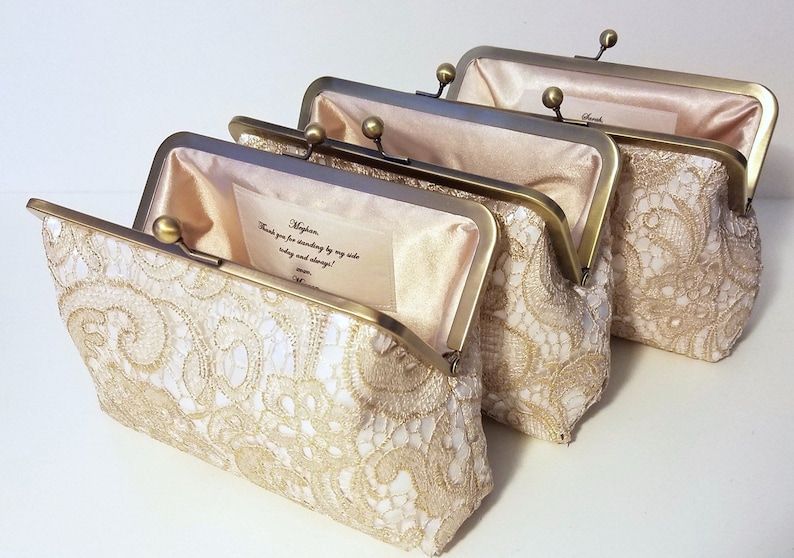 Set of 5 6 or 7 Gold Lace Bridesmaid Clutches Personalized image 0
