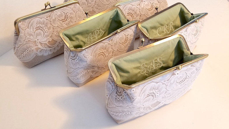 Bridesmaid Clutch Leaf Lace Set of 5 Set of 6 or 7 Lace image 0