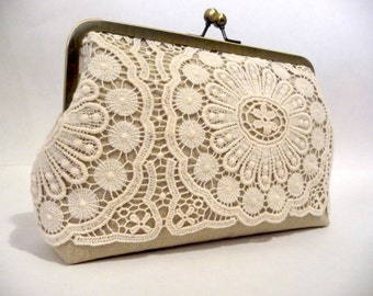 Vintage Style Lace Bridal Clutch, Rustic Linen Wedding Clutch, Linen & Lace Bridal Purse, Boho Bridesmaid Purse, Eight Inch Frame Clutch