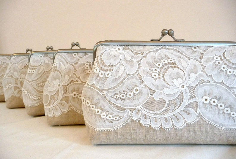 Bridesmaids Clutch Leaf Lace Gift Set Lace Bridesmaid Clutch image 0