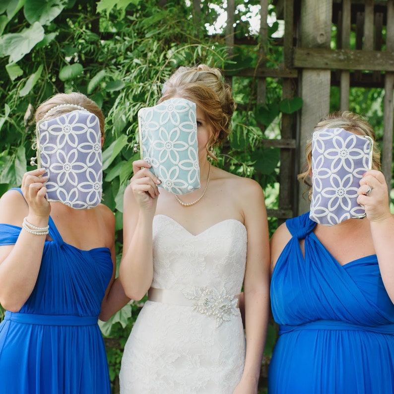 Colorful Bridesmaid Clutch Set of 3 Personalized Lace Wedding image 0