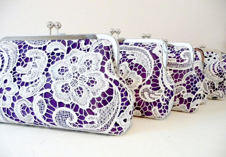 Purple Lace Bridesmaid Clutch Set of 5 Personalized Lace image 0