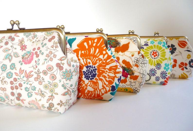 Floral Cotton Clutch Set of 5 Personalized Bridesmaid Floral image 0