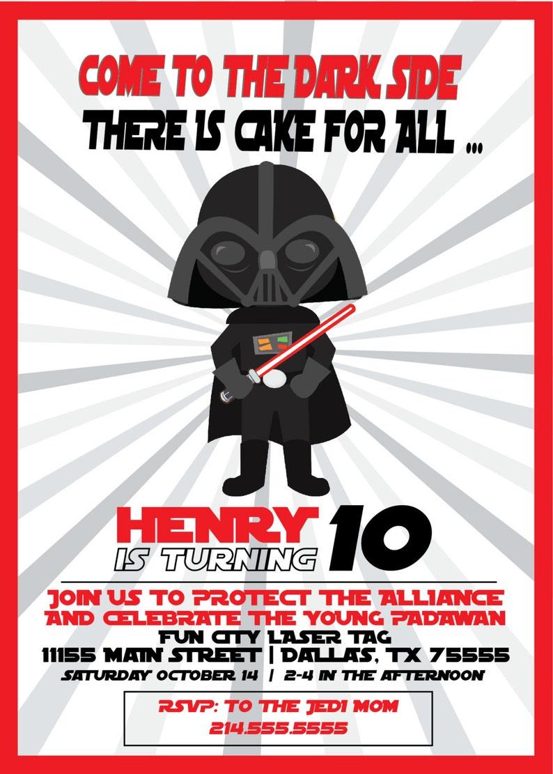 Star Wars Themed Birthday Invitation Darth Vadar Inspired