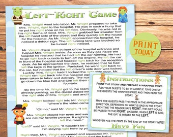 graphic relating to Left Right Games Printable identified as Still left directly recreation Etsy