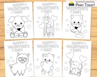 Valentines Coloring Etsy