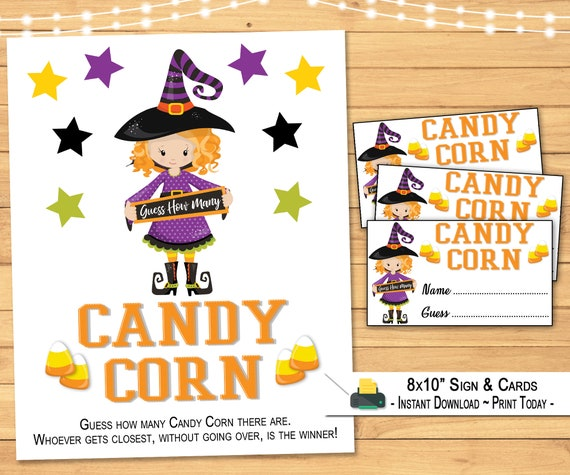 Halloween Candy Corn Guessing Game  8x10 Display Sign & Cards