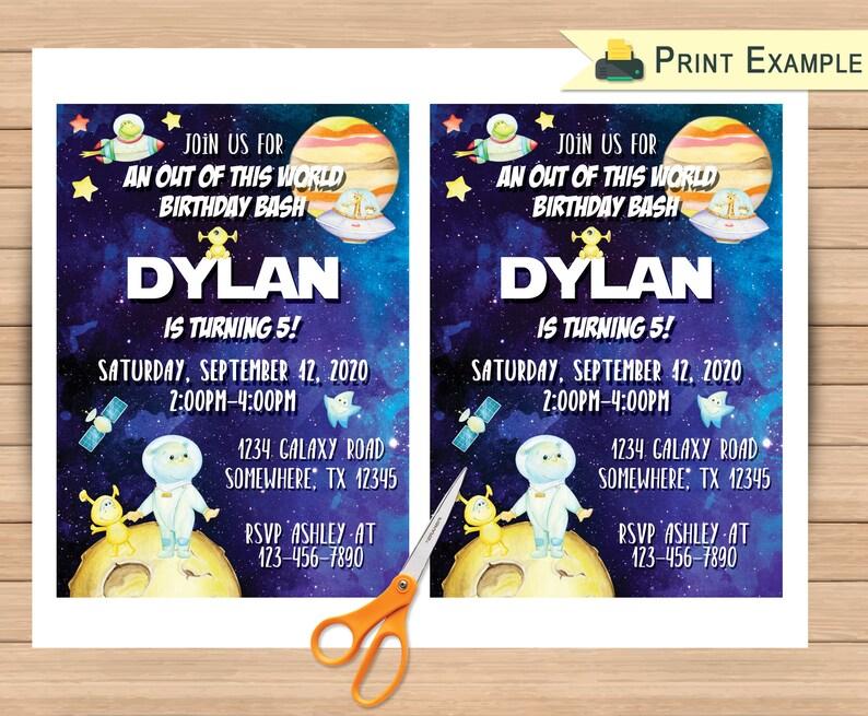Digital File PDF /& JPG Space Alien Invite You Print Invitation Template Space Friends Birthday Invitation 5x7