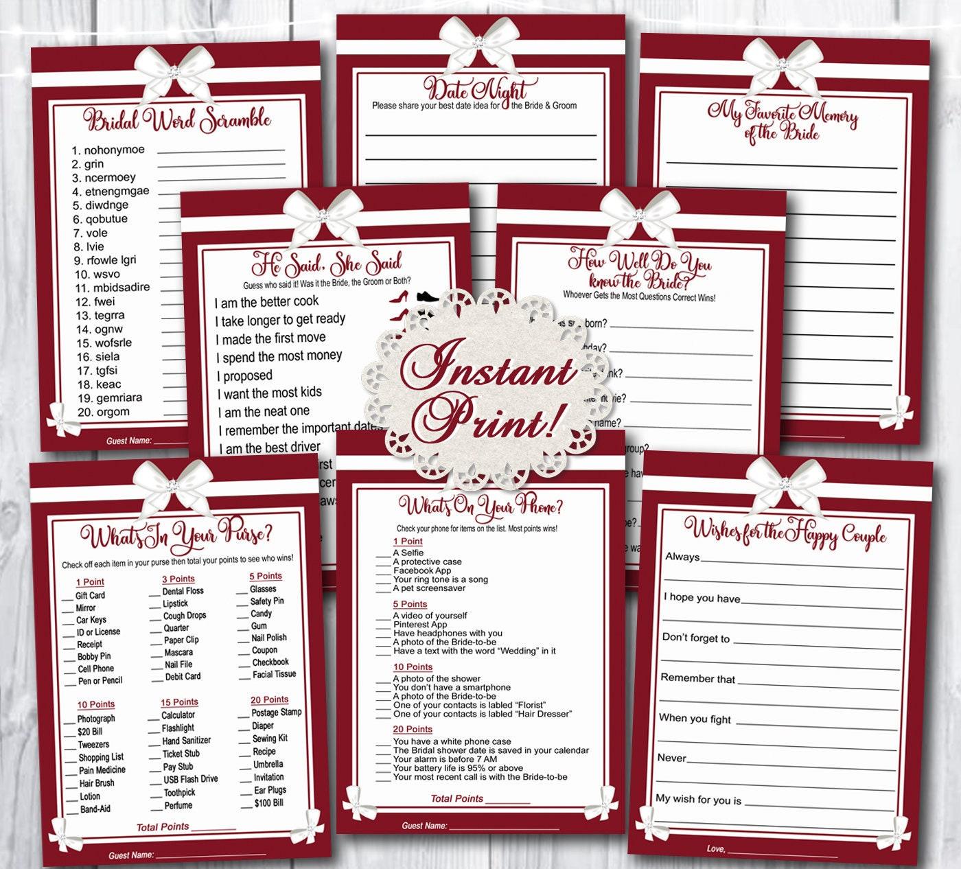 Burgundy w/White Bows Bridal Shower Games Printable / Wedding Shower Party  Games Set of 8 / INSTANT DOWNLOAD / Instant Print Bridal Games