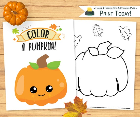 Color A Pumpkin Display Sign & Coloring Page  Halloween