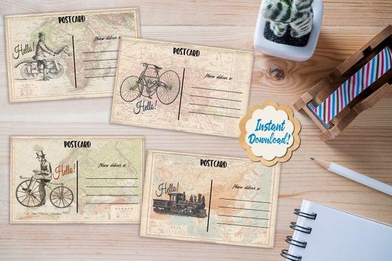 Printable Postcards / Steampunk Vintage Set of 4 / Scrapbooking Crafts /  Postcard Digital Download / INSTANT DOWNLOAD / Instant Print